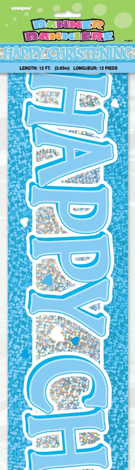 Happy Christening Day Blue Foil Banner